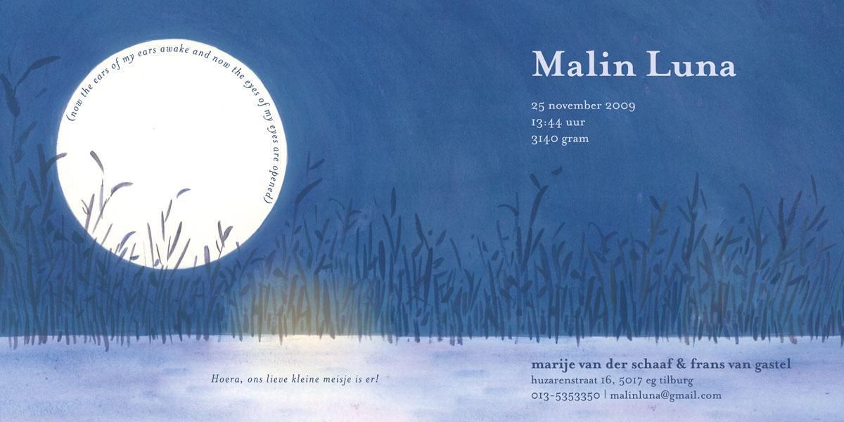 geboortekaartje Malin Luna